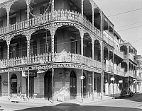 0162894 © Granger - Historical Picture ArchiveNEW ORLEANS: BALCONIES.   A view of the cast-iron lacework balconies of the LaBranche house on the corner of Royal and St. Peter Streets in New Orleans, Louisiana. Photographed by Frances Benjamin Johnston, c1938.