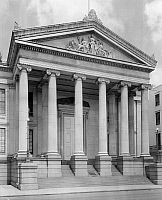 0162899 © Granger - Historical Picture ArchiveNEW ORLEANS: CITY HALL.   A view of the portico of Gallier Hall on Lafayette Square in New Orleans, Louisiana, a building which served as city hall from its dedication in 1853 until the 1950s. Photographed by Frances Benjamin Johnston, c1938.