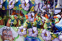 0163110 © Granger - Historical Picture ArchiveNEW ORLEANS: MARDI GRAS.   Flower float in the Mardi Gras parade in New Orleans, Louisiana, featuring artwork representing the city's recovery from Hurricane Katrina six months earlier. Photographed by Carol M. Highsmith, 28 February 2006.