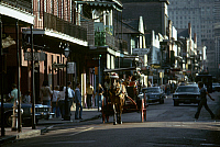 0163214 © Granger - Historical Picture ArchiveNEW ORLEANS: BOURBON STREET.   Horse-drawn carriage at the intersection of Bourbon and St. Peter Streets in the French Quarter of New Orleans, Louisiana. Photographed c1974.