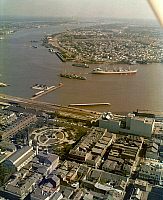 0163222 © Granger - Historical Picture ArchiveNEW ORLEANS: WATERFRONT.   Aerial view of the Mississippi River waterfront in New Orleans, Louisiana, with St. Louis Cathedral and Jackson Square shown in the left foreground . Photographed c1973.