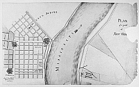 0176349 © Granger - Historical Picture ArchivePLAN OF NEW ORLEANS, 1814.   Plan of a part of New Orleans, Louisiana, showing the Faubourg Marigny on the Mississippi River. Drawing by Barthélemy Lafon, 1814.