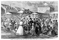 0355179 © Granger - Historical Picture ArchiveNEW ORLEANS: FRENCH MARKET.   The French Market in New Orleans on a Sunday Morning. Wood engraving, American, 1867.