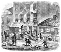 0006281 © Granger - Historical Picture ArchiveNYC: TENEMENT LIFE, c1860.   A funeral in Baxter Street, the Five Points tenement district of New York. Wood engraving from a German-language American newspaper, c1860.