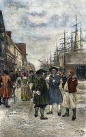 0007472 © Granger - Historical Picture ArchiveNEW YORK, 18th CENTURY.   Pedestrians along the waterfront in old New York. Illustration after Howard Pyle.