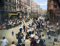 0009376 © Granger - Historical Picture ArchiveLOWER EAST SIDE, c1905.   The intersection of Orchard and Hester Streets on the Lower East Side in New York City. Oil over a photograph, c1905.