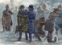 0010675 © Granger - Historical Picture ArchiveNEW YORK: BLIZZARD OF 1888.   Policemen rubbing snow on frozen ears. Wood engraving from a contemporary American newspaper article about the blizzard of 12-14 March 1888.