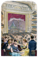 0010946 © Granger - Historical Picture ArchiveNEW YORK CHARITY BALL, 1883.   Charity Ball at the Metropolitan Opera House in New York shortly after its opening in October 1883: colored wood engraving.