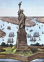 0011724 © Granger - Historical Picture ArchiveGREAT BARTHOLDI STATUE.   'The Great Bartholdi Statue, Liberty Enlightening the World.' lithograph, 1885, by Currier & Ives.