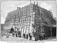 0012388 © Granger - Historical Picture ArchiveSTATUE OF LIBERTY, 1884.   The foundation for the Statue of Liberty under construction, 1884. Wood engraving from a contemporary American newspaper.