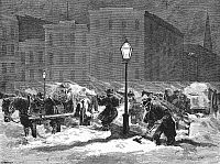 0014589 © Granger - Historical Picture ArchiveNEW YORK: SNOWSTORM, 1867.   Carting snow from the streets after the great snowstorm of 16-17 January 1867. Wood engraving from a contemporary American newspaper.