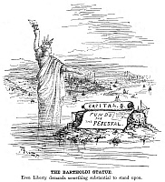 0016284 © Granger - Historical Picture ArchiveSTATUE OF LIBERTY CARTOON.   Cartoon, 1884, by Thomas Nast.