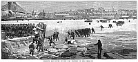 0017332 © Granger - Historical Picture ArchiveNEW YORK: BLIZZARD OF 1888.   'Crossing East River on the Ice - Dangers of the Break-Up.' Wood engraving from a contemporary American newspaper article about the blizzard of 12-14 March 1888.