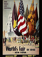 0027585 © Granger - Historical Picture ArchiveNYC WORLD'S FAIR, 1940.   'For Peace and Freedom'. Color lithograph poster for the World Fair of 1940 at New York City.