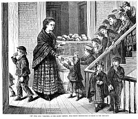 0027941 © Granger - Historical Picture ArchiveCHARITIES: NEW YORK, 1871.   Bread is distributed to poor children on Christmas at the Ladies' Mission in Five Points. Wood engraving, American, 1871.