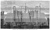 0028500 © Granger - Historical Picture ArchiveBROOKLYN BRIDGE, 1870.   Sectional view of the caisson and masonry foundation of the Brooklyn Bridge. Wood engraving, American, 1870.