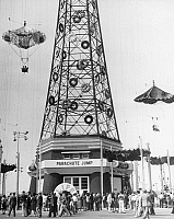0030731 © Granger - Historical Picture ArchiveNY: WORLD'S FAIR, 1939-40.   The Parachute Jump at the World's Fair at Flushing Meadows, New York, 1939.