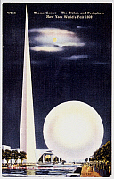 0031445 © Granger - Historical Picture ArchiveWORLD'S FAIR, 1939.   The Trylon and Perisphere at the 1939 World's Fair at New York: contemporary American postcard.