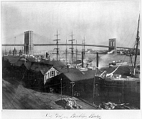 0035464 © Granger - Historical Picture ArchiveBROOKLYN BRIDGE, c1900.   View of the Brooklyn Bridge and Manhattan from the Brooklyn side, just north of the bridge. Photograph, c1900.