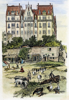 0038056 © Granger - Historical Picture ArchiveNYC APARTMENT BUILDING.   A newly-erected Dakota apartment building overlooking a shantytown and farmyard at the northerly outskirts of New York City. American engraving, 1889.