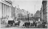 0046154 © Granger - Historical Picture ArchiveWALL STREET, NEW YORK CITY   Seen from the corner of Broad Street. Steel engraving, mid-19th century.