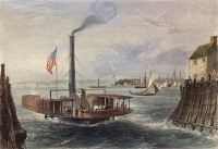 0046846 © Granger - Historical Picture ArchiveTHE BROOKLYN FERRY.   The ferry at Brooklyn, New York. Colored engraving, 1838, after W.H. Bartlett.