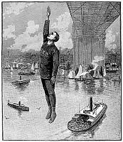0048037 © Granger - Historical Picture ArchiveROBERT E. ODLUM  jumping off the Brooklyn Bridge to his death on 19 May 1885. Contemporary line engraving.