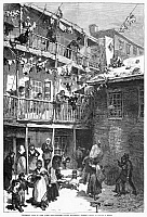 0054636 © Granger - Historical Picture ArchiveTENEMENT LIFE, 1879.   'Rag-Pickers' Court' off Mulberry Street in New York City. Wood engraving, American, after W.A. Rogers, 1879.