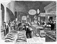 0063534 © Granger - Historical Picture ArchiveFULTON FISH MARKET, 1869.   'Fish stands in Fulton Fish Market, New York.' Wood engraving, American, 1869.