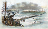 0064059 © Granger - Historical Picture ArchiveNYC: EAST RIVER, 1852.  New Yorkers walking from Brooklyn to Manhattan on the frozen East River during the severe winter of early 1852. Wood engraving from a contemporary American newspaper.