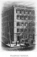 0064441 © Granger - Historical Picture ArchiveNEW YORK: FRAUNCES TAVERN.   Fraunces Tavern, at 101 Broad Street, corner of Pearl Street, where General George Washington bade farewell to his officers on 4 December 1783. Etching and engraving, c1885.