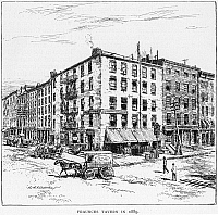 0064442 © Granger - Historical Picture ArchiveNEW YORK: FRAUNCES TAVERN.   Fraunces Tavern, at 101 Broad Street, corner of Pearl Street, where General George Washington bade farewell to his officers on 4 December 1783. Drawing, 1889.