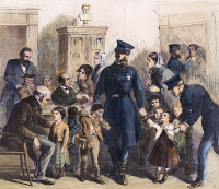 0066502 © Granger - Historical Picture ArchiveSLUM CHILDREN, 1864.   Police officers bringing children, caught peddling in the street, before the Commissioners of Charity in New York City. Wood engraving, American, 1864.