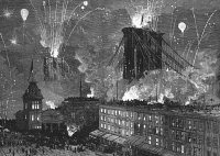 0066782 © Granger - Historical Picture ArchiveBROOKLYN BRIDGE OPENING.   The opening of the Brooklyn Bridge, 24 May 1883, celebrated with fireworks, seen from the Brooklyn side with Fulton Street in the foreground. Contemporary wood engraving.