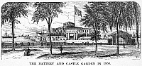 0067383 © Granger - Historical Picture ArchiveNEW YORK: CASTLE GARDEN.   The Battery and Castle Garden in 1850. Wood engraving, late 19th century.