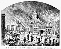 0067407 © Granger - Historical Picture ArchiveWALL STREET FIRE, 1835.   The Merchants' Exchange in New York City ablaze during the great fire of 1835. Line engraving, 19th century.