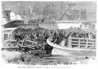 0068459 © Granger - Historical Picture ArchiveFULTON FERRY BOAT, 1868.   The Fulton Ferry boat collision in New York City on 14 Novermber 1868. Wood engraving from a contemporary American newspaper.
