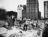 0076271 © Granger - Historical Picture ArchiveHOTEL DEMOLITION, 1905.   Workmen completing the demolition of the first Plaza Hotel, West 59th Street and Fifth Avenue, New York City, in preparation for the construction of the Plaza Hotel which would open in 1907. Photographed by Joseph Byron, 1905.
