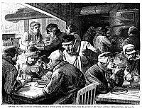 0076607 © Granger - Historical Picture ArchiveCHARITIES: NEW YORK.   Relief to the poor of New York City at the Car Drivers' Coffee-Room on 7th Avenue and 50th Street, operated under the auspices of the Woman's Christian Temperance Union. Wood engraving, American, late 19th century.