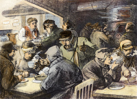 0077311 © Granger - Historical Picture ArchiveCHARITIES: NEW YORK.   Relief to the poor of New York City at the Car Drivers' Coffee-Room on 7th Avenue and 50th Street, operated under the auspices of the Woman's Christian Temperance Union. Wood engraving, American, late 19th century.
