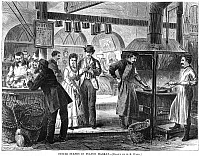 0078219 © Granger - Historical Picture ArchiveFULTON FISH MARKET, 1870.   'Oyster stands in the fish market.' Wood engraving.