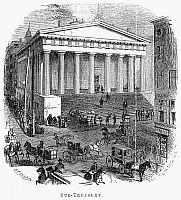 0078231 © Granger - Historical Picture ArchiveWALL STREET, 1865.   The United States Sub-Treasury Building (the Old Customs House) at Wall and Nassau Street. Wood engraving, 1865.