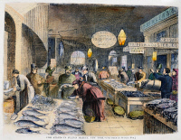 0086825 © Granger - Historical Picture ArchiveFULTON FISH MARKET, 1869.   'Fish stands at the Fulton Fish Market, New York.' Wood engraving, American, 1869.