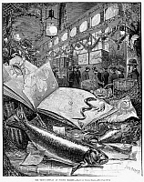 0088246 © Granger - Historical Picture ArchiveFULTON FISH MARKET, 1882.   'The Trout Display at Fulton Market.' Line engraving after Daniel Carter Beard, 1882.