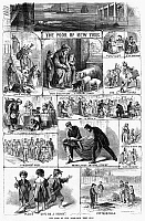 0088377 © Granger - Historical Picture ArchivePOOR NEW YORK, 1865.   'The Poor of New York-How They Stay.' Wood engravings from an American newspaper of 1865.