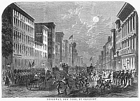 0088464 © Granger - Historical Picture ArchiveNEW YORK: GASLIGHT, 1856.   'Broadway, New York, by Gaslight.' Wood engraving, American, 1856.