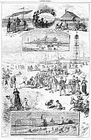 0088490 © Granger - Historical Picture ArchiveCONEY ISLAND, 1878.   Scenes from a summer day at Coney Island, Brooklyn, New York. Wood engravings after W.A. Rogers, 1878.