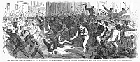 0089079 © Granger - Historical Picture ArchiveNEW YORK: ORANGE RIOT.   Scene on 8th Avenue during the Orange Riot, 12 July 1871, between 'Orange' (Protestant Irish) and 'Green' (Catholic Irish). Wood engrvaing from a contemporary American newspaper.