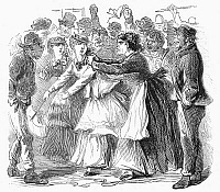 0089085 © Granger - Historical Picture ArchiveNEW YORK: ORANGE RIOT.   At a parade on Fifth Avenue in New York City, 12 July 1871, a young Protestant (Orange) Irish woman wearing orange-colored trimmings is assaulted by a Catholic (Green) Irish woman. Wood engraving from a contemporary American newspaper.