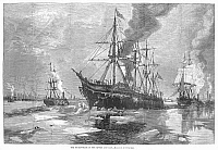 0089152 © Granger - Historical Picture ArchiveNEW YORK HARBOR: ICE, 1881.   'The Ice-Blockade in the Rivers and Bay.' Wood engraving, American, 1881.